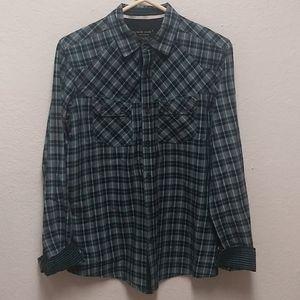 Marc Ecko Cut & Sew S Plaid Button Front Shirt